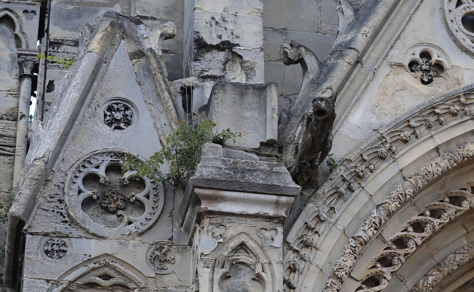 Pierres sculptée du gâble triangulaire et du contrefort cassées - Pierre de la gargouille rongée par la mousse et fragilisée – angle portail nord-ouest